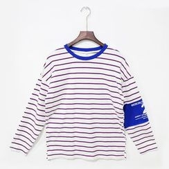 Mr. Cai - Long-Sleeve Lettering Striped T-Shirt