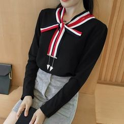 Cherry Dress - V-Neck Long-Sleeve T-Shirt with Tie