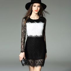 Y:Q - Round Neck Lace Trim Long Sleeve Sheath Dress