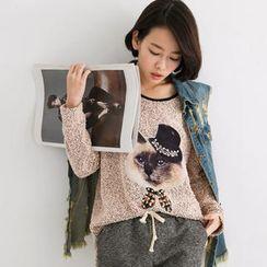 Tokyo Fashion - Cat-Appliqué Dip-Back Sweater