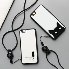 Casei Colour - Set: Cat Print iPhone 6 / 6 Plus Case + Neck Strap