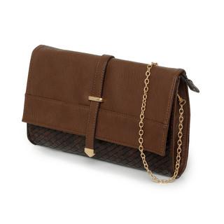 yeswalker - Faux Woven Convertible Shoulder Bag