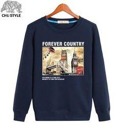 CHU STYLE - Fleece-lined Print Sweatshirt