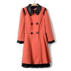 9mg - Faux-Leather-Trim Trench Coat