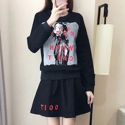 Cherry Dress - Set: Lettering Embroidered Printed Sweatshirt + A-Line Skirt