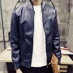 Bay Go Mall - Stripe Stand-collar Faux Leather Jacket