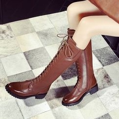 Pretty in Boots - Genuine Leather Brogue Lace Up Tall Boots