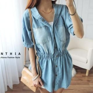 CYNTHIA - Short-Sleeve Gather-Waist Denim Shirt