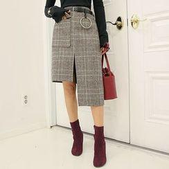DABAGIRL - Glen-Plaid Asymmetric Skirt with Belt