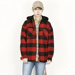 Rememberclick - Wool-Blend Check-Pattern Hoodie Jacket