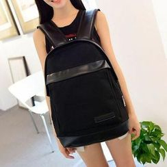 Miss Sweety - Faux-Leather-Trim Canvas Backpack