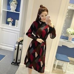 RUI - Long-Sleeve Color Block Chiffon Dress