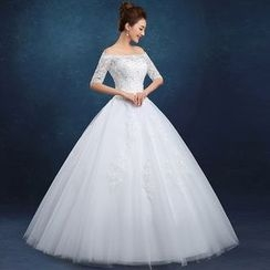 Galsnow - Embellished Off-Shoulder Elbow-Sleeve Wedding Ball Gown