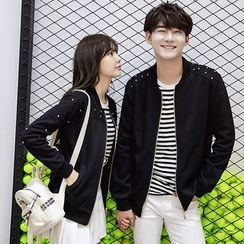 CASSY - Couple Matching Beaded Zip Jacket
