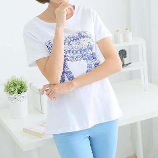 JVL - Short-Sleeve Elephant-Print T-Shirt