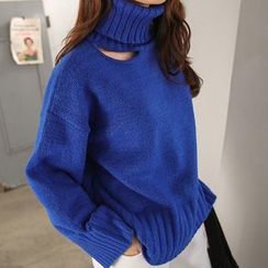 PPGIRL - Turtle-Neck Cutout-Detail Knit Top