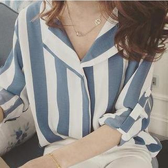 Oaksa - 條紋扣帶袖雪紡襯衫