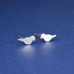 Zundiao - Sterling Silver Pigeon Studs