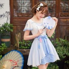 糖果雨 - 蝴蝶結短袖A字連衣裙