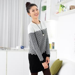 59 Seconds - Zigzag Pattern Sweater Dress