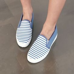 DANI LOVE - Striped-Panel Slip-Ons