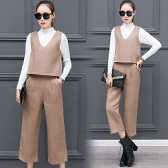 belle epoque - 套装: 高领上衣 + 背心 + 宽腿裤