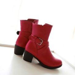 Pangmama - Block Heel Strappy Short Boots