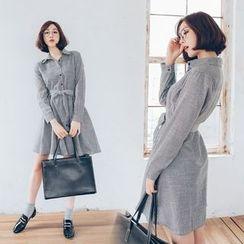 WITH IPUN - Cotton Blend Stripe Shirtdress