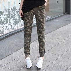 CHICFOX - Camouflage Straight-Cut Pants
