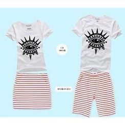 Love Affairs - Couple Set: Eye Print T-Shirt + Striped Skirt / Shorts