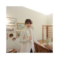 LEELIN - Wool Blend Double-Breasted Tweed Jacket