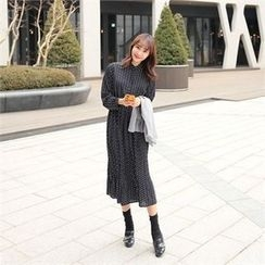 clicknme - Mandarin-Collar Patterned Long Shirtdress