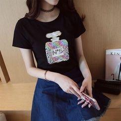 HotBlock - Print Slim-Fit Sequined Short-Sleeve Top