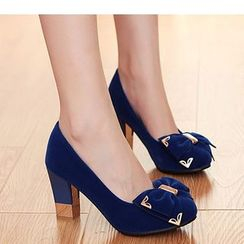 Freesia - Bow Block Heel Pumps