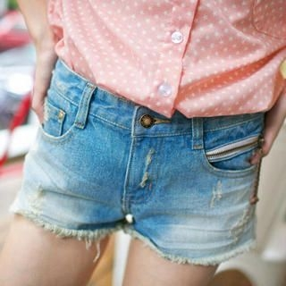 Tokyo Fashion - Distressed Washed Denim Shorts