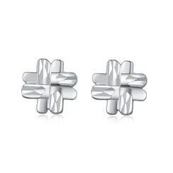 MaBelle - 14K/585 White Gold Diamond Cut Hashtag Stud Earrings