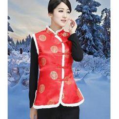 Venesia - Printed Mandarin Collar Vest