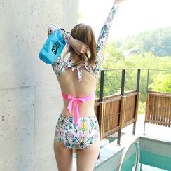 Dodostyle - Floral Patterned Tie-Back Rashguard + Swim Bottom
