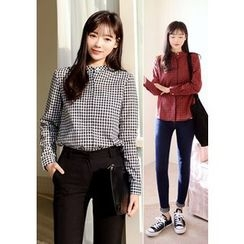 DEEPNY - Round-Neck Open-Placket Gingham Top