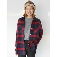 FROMBEGINNING - Plaid Check Cotton Shirt