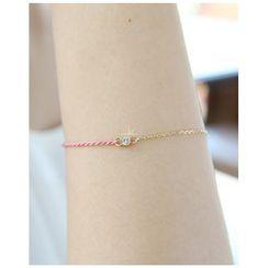 Miss21 Korea - Rhinestone Cord Chain Bracelet