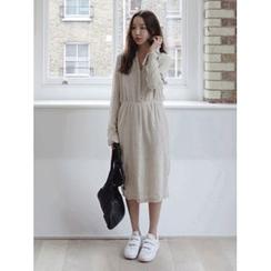 maybe-baby - Mandarin-Collar Linen Blend Dress