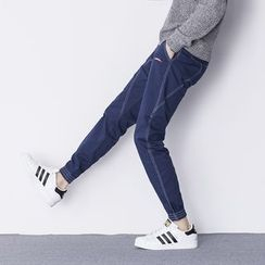 AOBIN - Contrast Stitching Slim-Fit Pants
