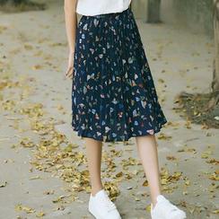 sansweet - Print Pleated Midi Skirt
