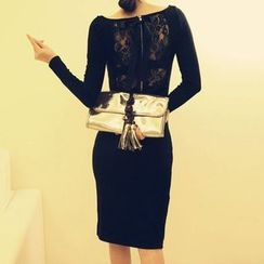 Isadora - 後蕾絲長袖塑身連衣裙