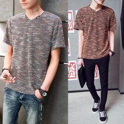 Danjieshi - Melange V-Neck T-Shirt