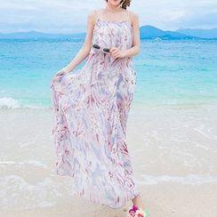 Isadora - Floral Print Spaghetti Strap Maxi Chiffon Dress