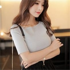 CHICLINE - Short-Sleeve Square-Neck Knit Top