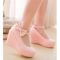Freesia - 蝴蝶結裝飾踝帶船跟鞋