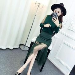Mi Camilla - Set: Tulle Panel Top + Pencil Skirt